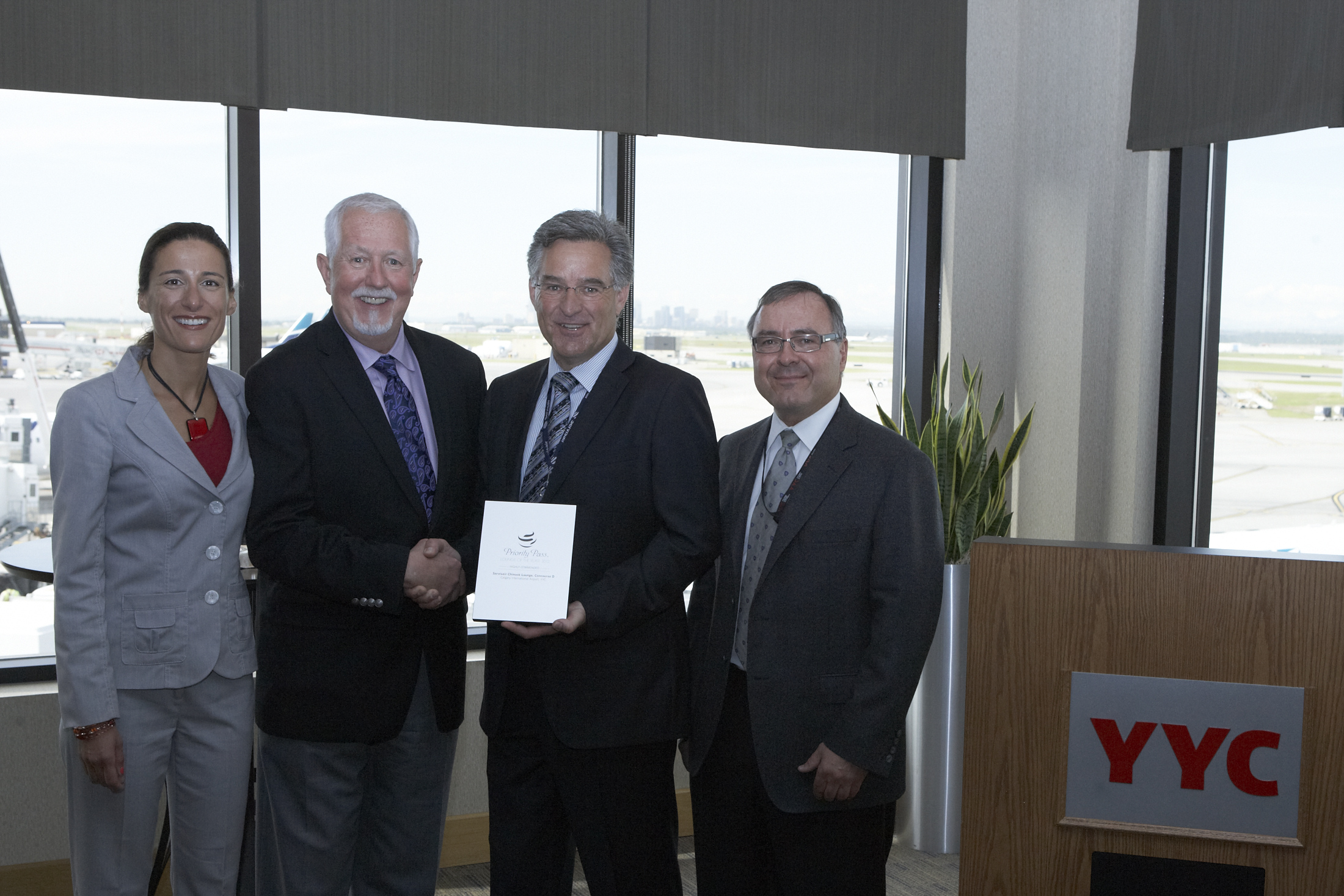 Photo of an award ceremony at the Calgary International Airport