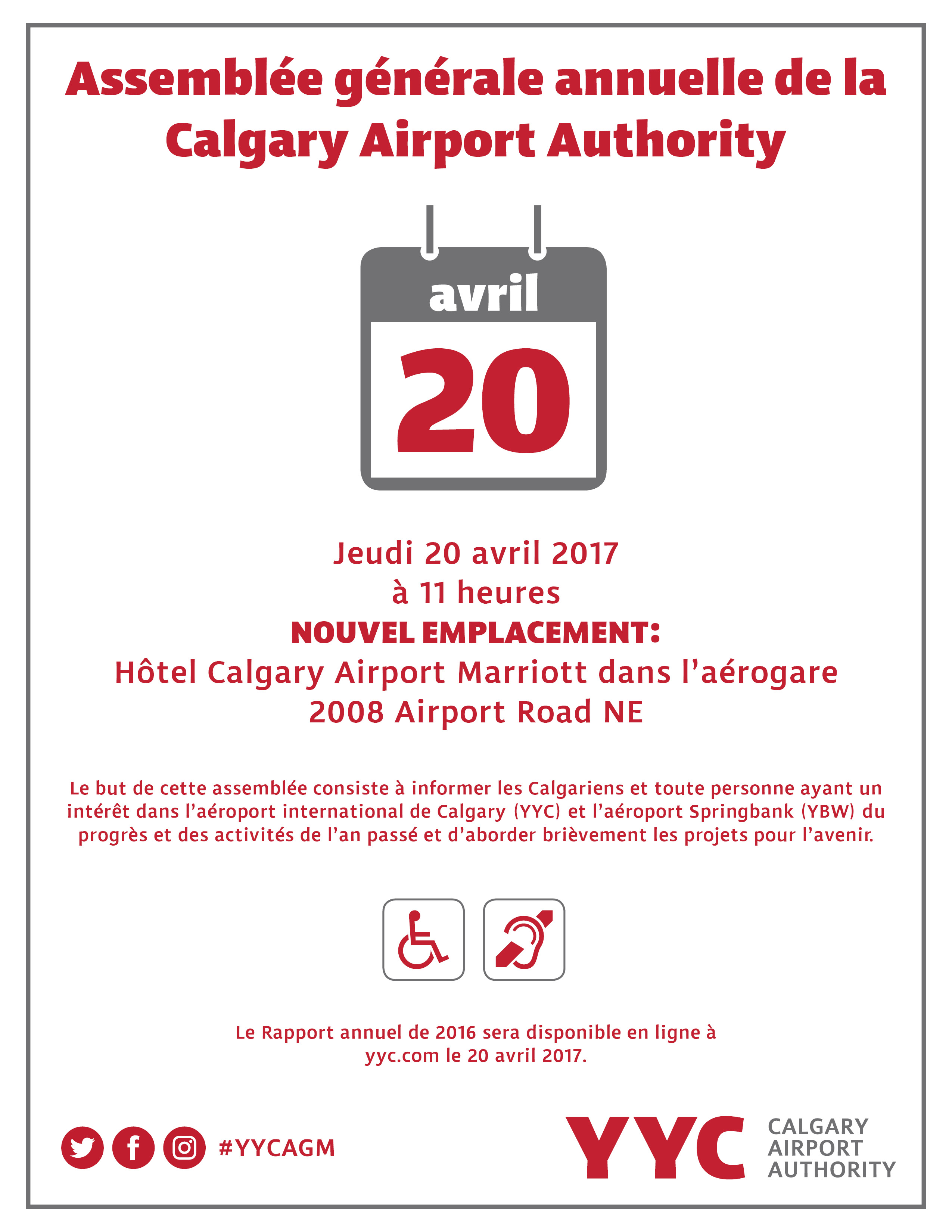 AGM  on April 20 at 11 am in Calgary Airport In-terminal Hotel