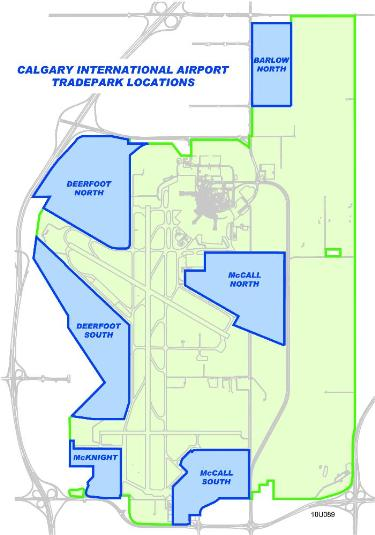 Map of land leasing space on airport property