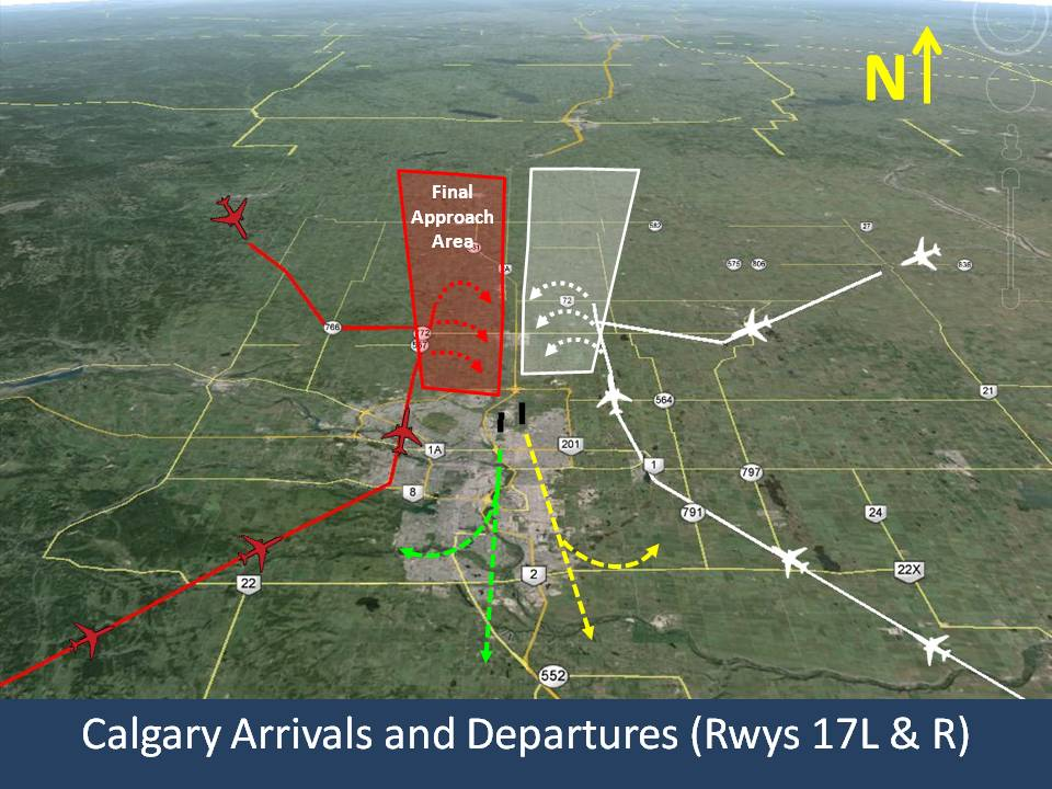 Calgary Arrivals and Departures Runways 17L and R