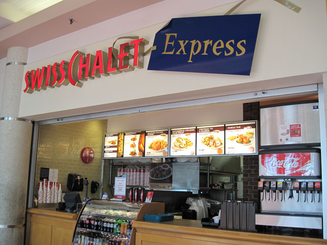 Swiss Chalet Express serves their famous rotisserie chicken